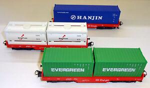 Maerklin-H0-29452-2-Containertragwagen-Set-der-DB-AG-NEU