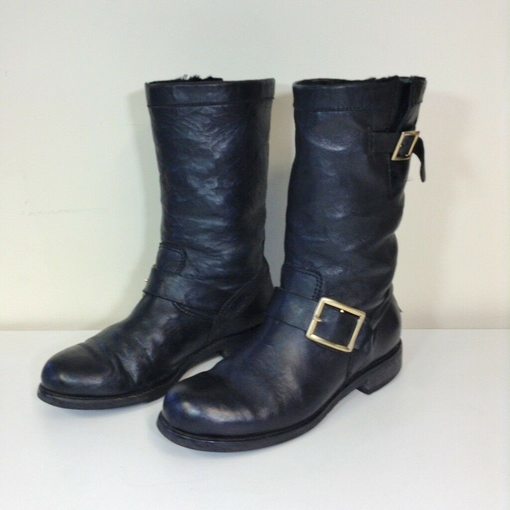 JIMMY CHOO schwarz LEATHER BIKER  Stiefel Größe 35.5 2.5