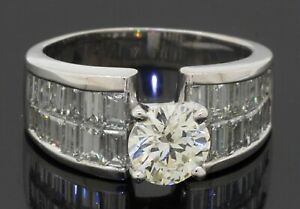 Heavy 18K WG 4.14CTW VS diamond wedding/engagement ring w/ 1.50CT ctr. size 8.75
