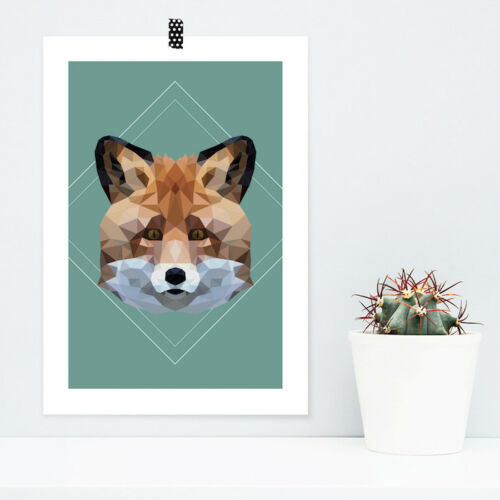 "JUNIWORDS Poster /""Fuchs im Low-Poly Style/"" Geschenk Geburtstag DIN A4 A3 A2 A1"