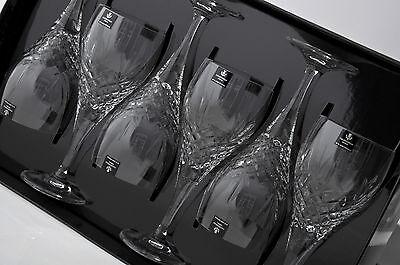 Caledonian Fully Cut 24% Lead Crystal White Wine Glasses x 6 In Presentation Box