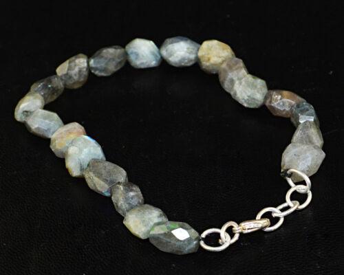 85.00 cts Earth mined non traités Flash Bleu Labradorite à facettes perles bracelet