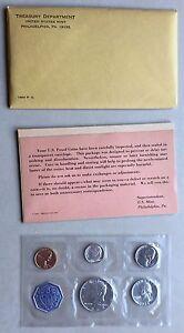 USA-1964-Proof-Set-Philadelphia-in-Umschlag-Silber-PP-polierte-Platte-1c-50c