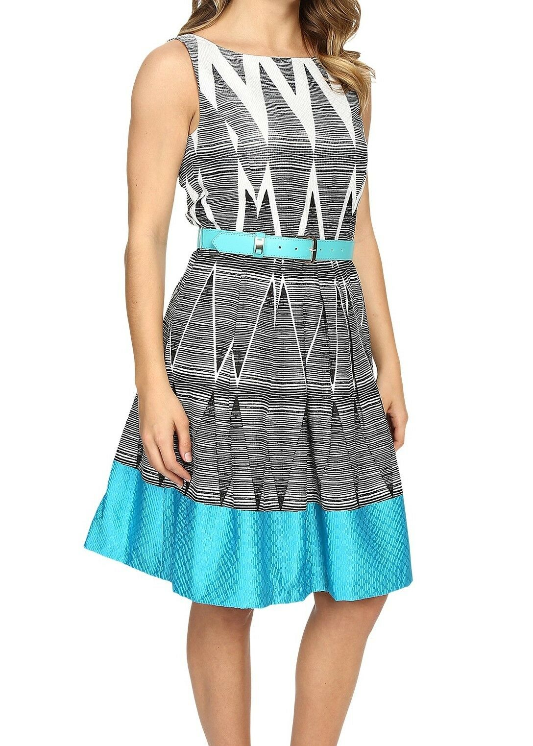 NWT MSRP MSRP MSRP  138 - TAHARI by ASL Geometric Fit & Flare Dress, Turquoise, Size 10 454ee2