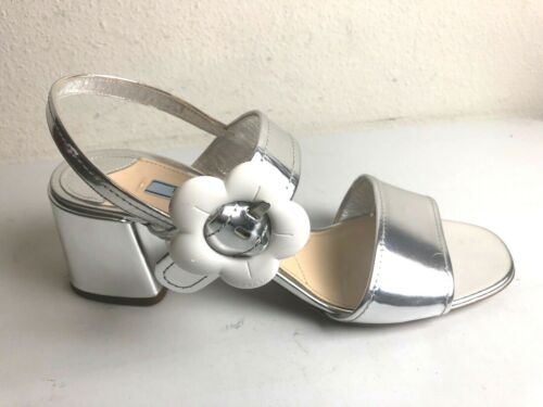 PRADA Silver Mirror Leather  FLOWER Buckle Sandals