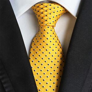 Classic-Mens-Silk-Tie-Necktie-Yellow-blue-Polka-Dots-Woven-JACQUARD-Neck-Ties