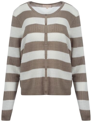 New Womens Plum Tree Audrey Striped Waffle Ladies Button Cardigan Top Size 8-16