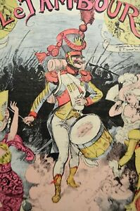 The Drum Signed Yves Barret Magazine Illustrated Caricature 1880 Albert Robida
