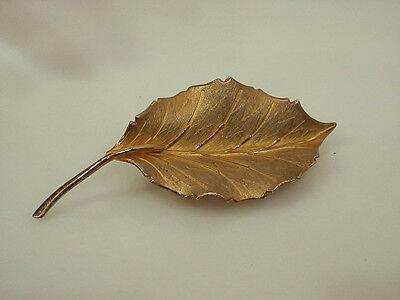 Signed Bond Boyd Vintage 1950s Gold Plated Sterling Silver Leaf Brooch 194M4