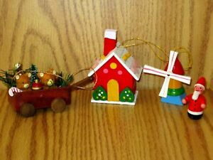 Details About Lot Of 4 Painted Wood Christmas Tree Ornaments Wagon House Santa Windmill