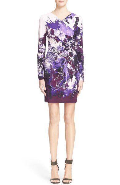 NEW Roberto Cavalli Floral Print Jersey Dress- Purple 44