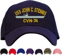 Uss John C. Stennis Cvn-74 Embroidered Baseball Cap Available In 7 Colors - Hat