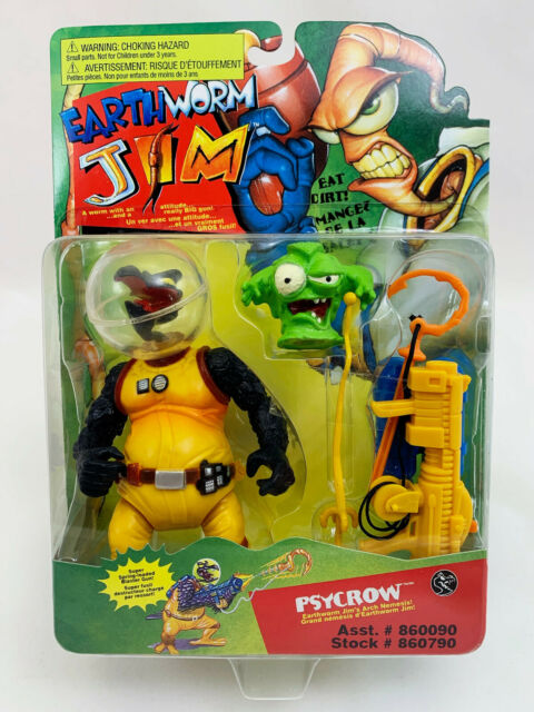 Psycrow with Major Mucus - Vintage Earthworm Jim (Playmates-1994) Mint on Card