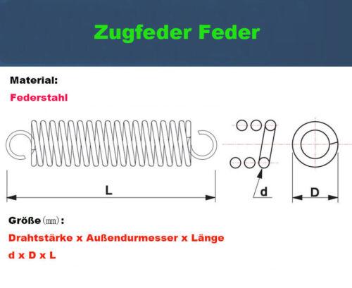 10Stk Zugfeder Feder Federstahl Drahtstärke=0,7mm OD=5,0mm Länge=10-60mm Neu