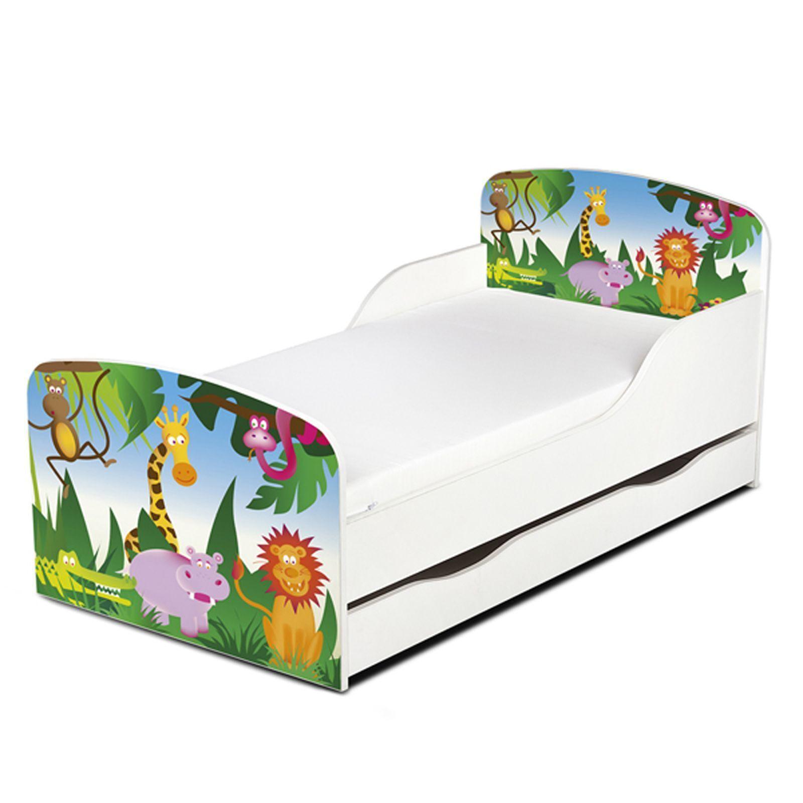 Jungle Animaux Design MDF Tout-petit lit avec de rangement dessous de lit NEUF