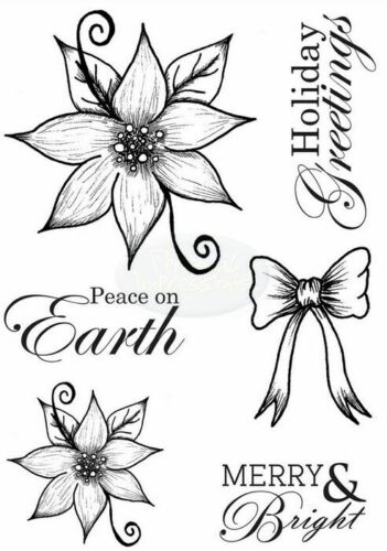 Sentiments Peace on Earth Poinsettia Greetings Clear Stamp Set