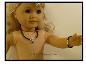 Black-Heart-Rhinestone-Necklace-amp-Bracelet-Set-fits-American-Girl-Doll