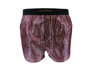BLACK PURE SILK PAISLEY CLASSIC DESIGN BOXER SHORTS by PJW Made France