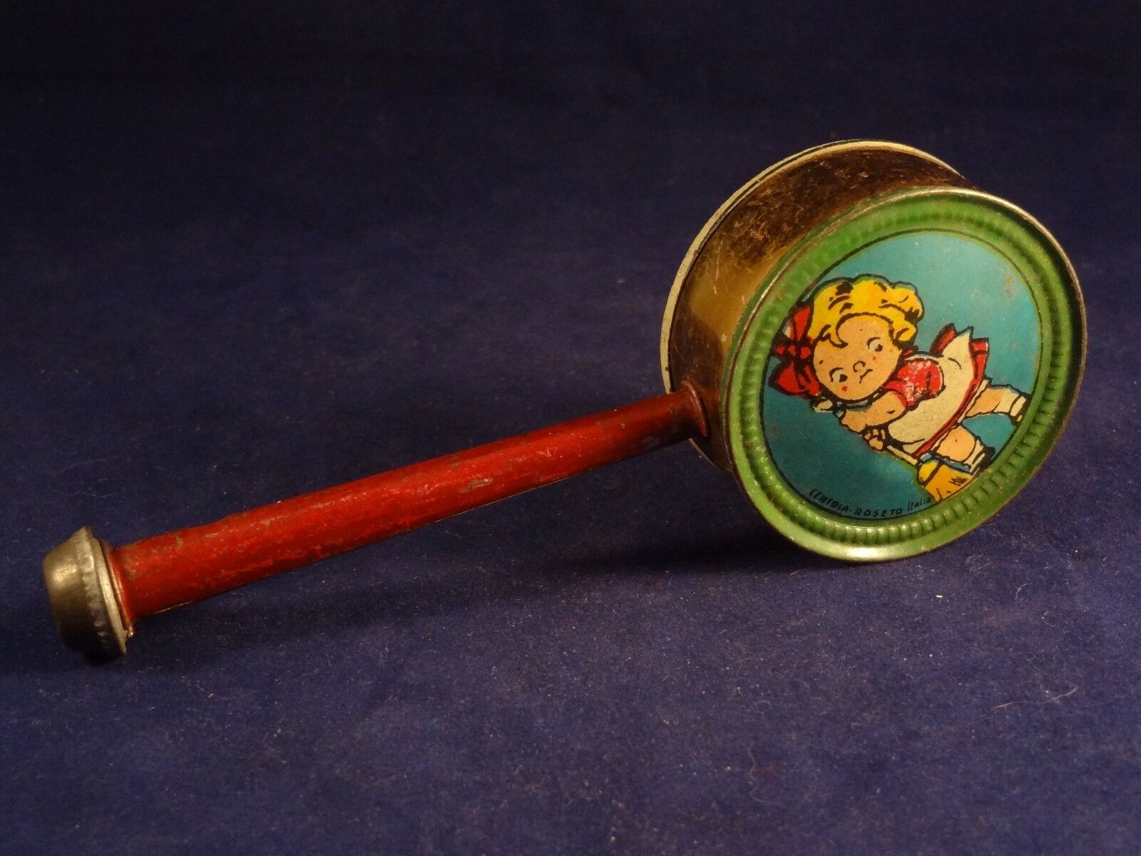 Ancien jouet hochet sifflet tôle Centola Roseto Italia caneton enfant enfant enfant 1920 543980