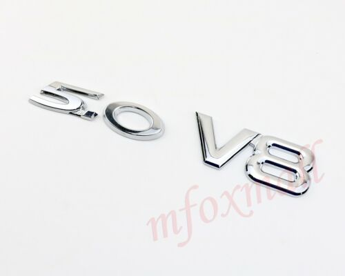 Chrome Metal 3D V8+5.0 Emblem Logo Badge Decal Sticker Car Door Body Decoration