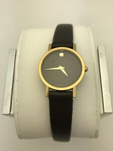 79ce929fa Movado Ladies Swiss Made Black Museum Dial Black Leather Band Watch ...