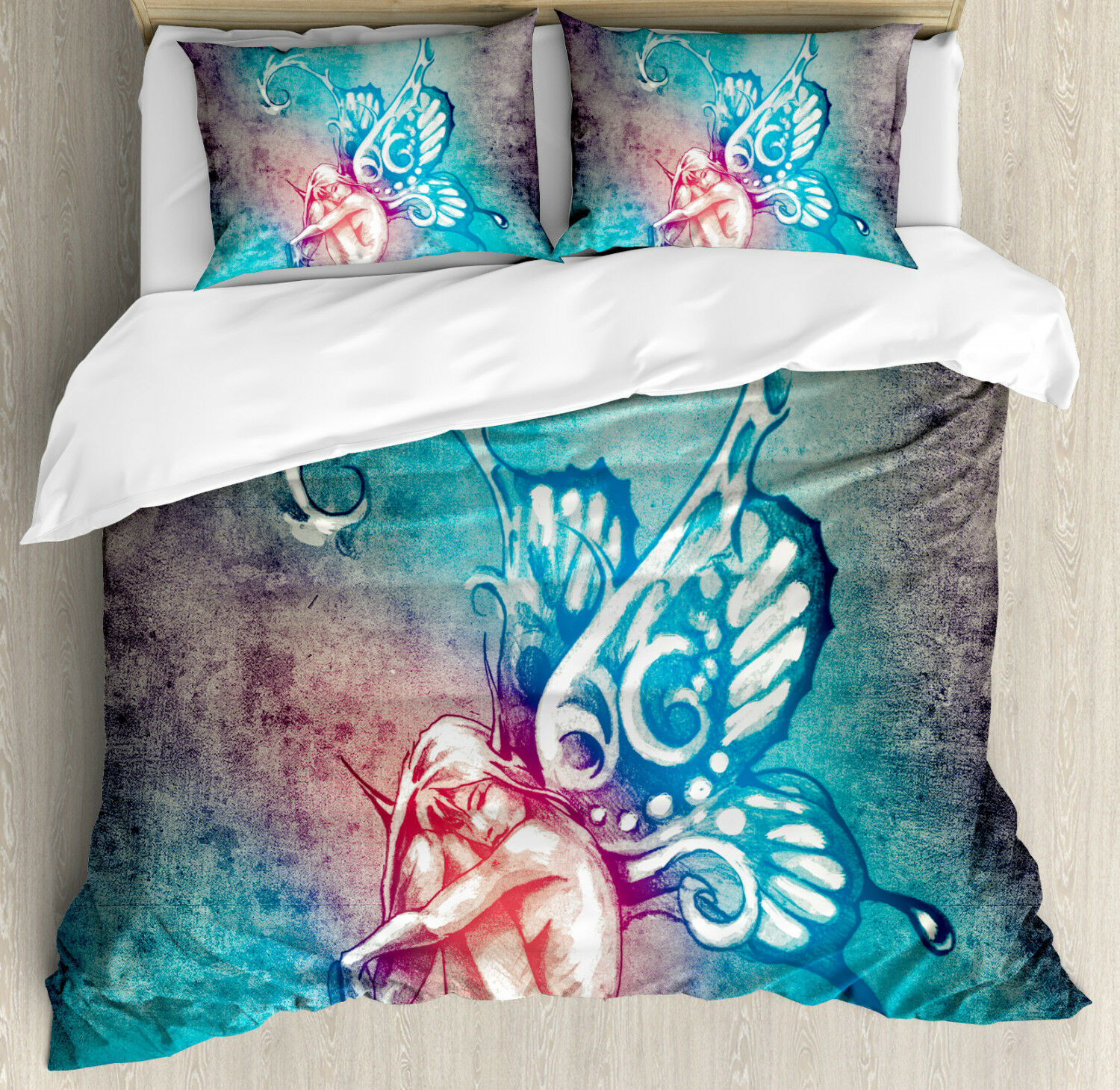 Fantasy Duvet Cover Set with Pillow Shams Butterfly Winged Fairy Print