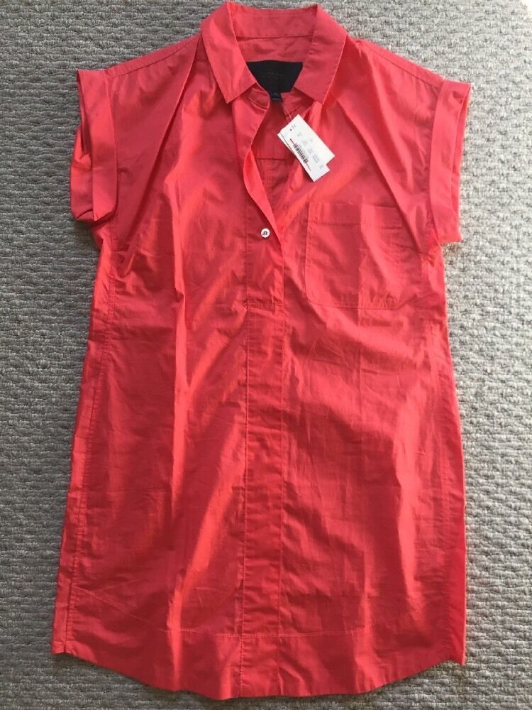 J.Crew Short Sleeve Cotton Shirtdress Petite Small Coral C7214  98 SOLD OUT  PS
