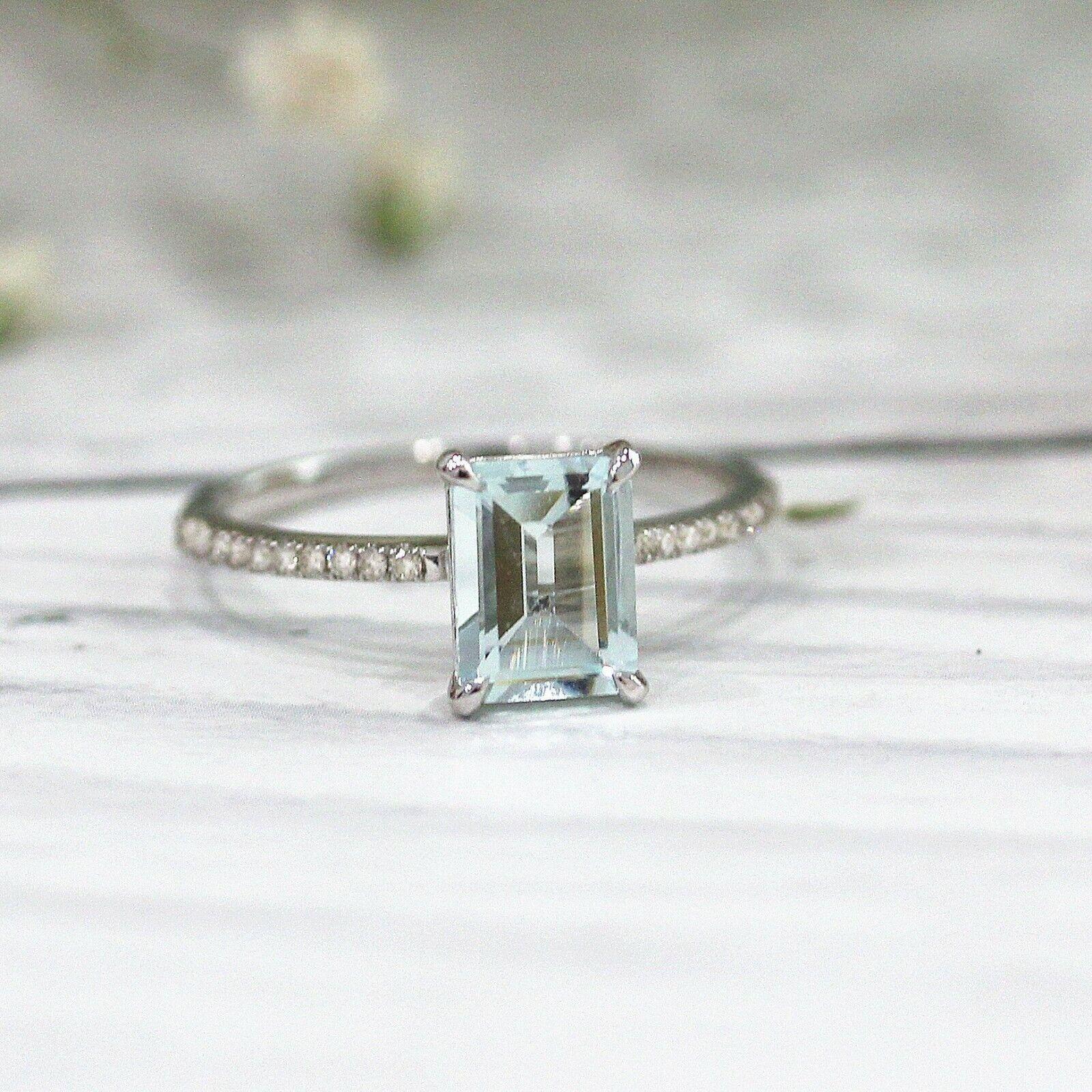4Ct Emerald Cut Aquamarine Diamond Accents Solitaire Ring 14K White gold Finish