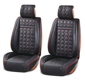 1-1-Schwarz-Autositzbezug-Kunstleder-Schonbezug-mit-roter-Naht-Vordersitzbezuege