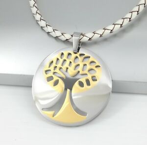 Silber-Gold-Baum-des-Lebens-Edelstahl-Anhaenger-weiss-Leder-Halsketten-Geflochten