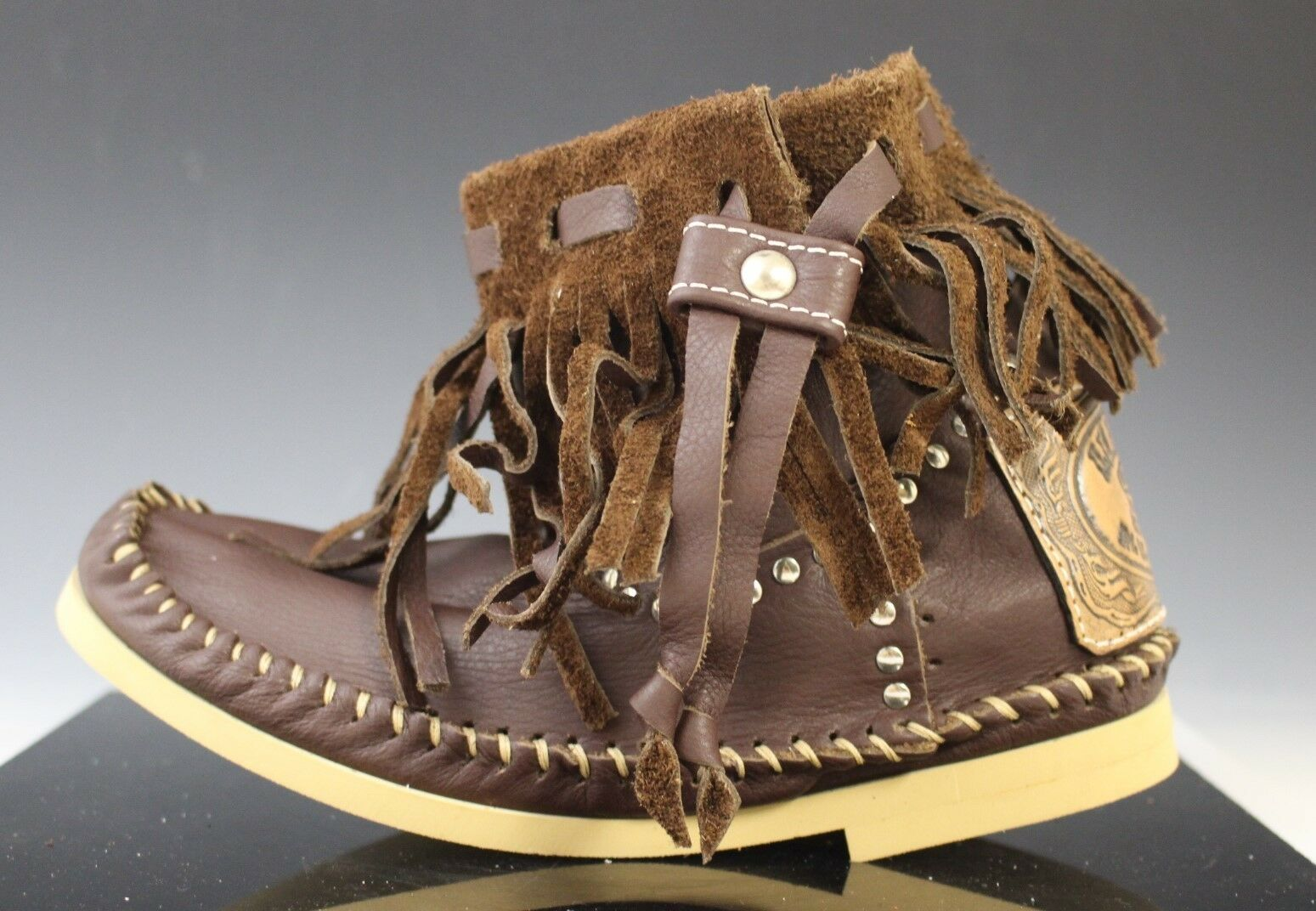 Hector Italian Leather Moccasin Boots shoes Tranchetto Frange Brown US Size 6