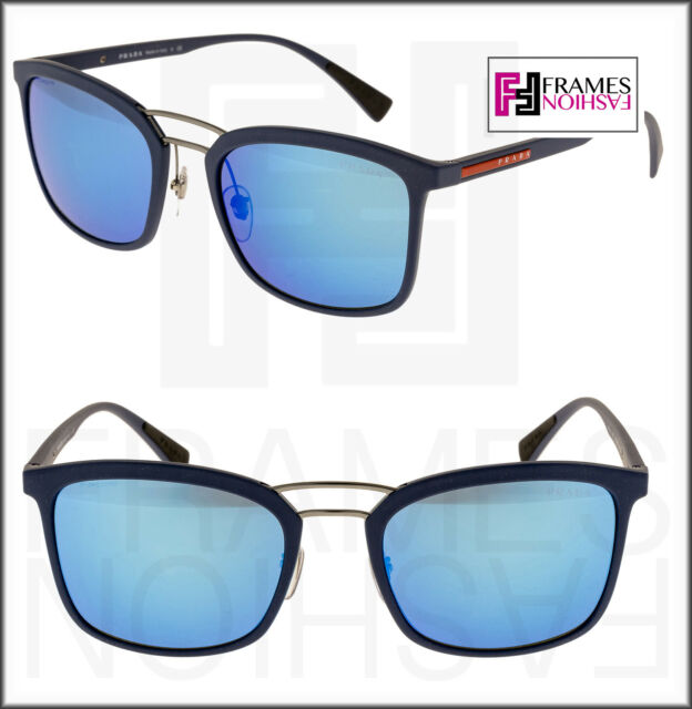 2f3e5f799645f PRADA Linea ROSSA 03s Matte Blue Rubber Flash Mirrored Sport Sunglasses  Ps03ss for sale online