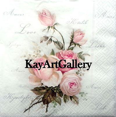 4 x Single Vintage LUXURY Table PAPER NAPKINS / ROSES 3 / DECOUPAGE CRAFT SAGEN