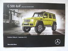 Mercedes-Benz G 500 4x4² Sondermodell - Preisliste - Prospekt Brochure 09.2015