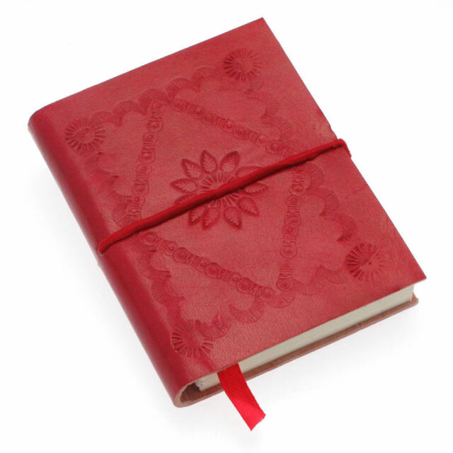 Fair Trade Handmade Small Crimson Red Embossed Leather Journal Notebook