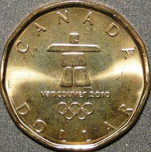 COIN OF CANADA 2010 VANCOUVER WINTER OLYMPIC LUCKY LOONIE INUKSHUK COIN  *BU.