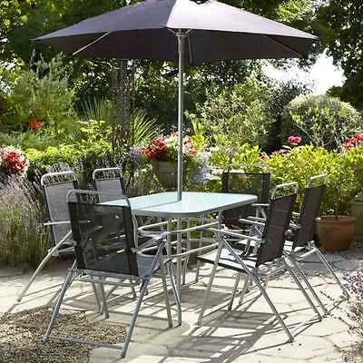 Garden Patio Furniture Set 6 Seater Table Seat Chair Parasol Umbrela 8PC