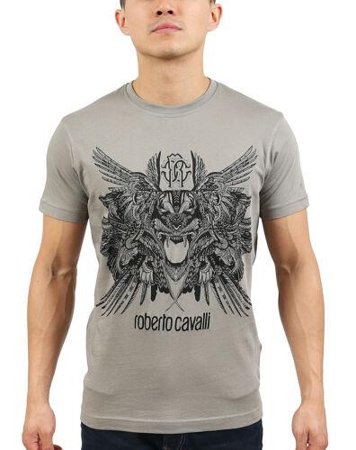 Roberto Cavalli Grey Tiger Logo Crewneck T-Shirt