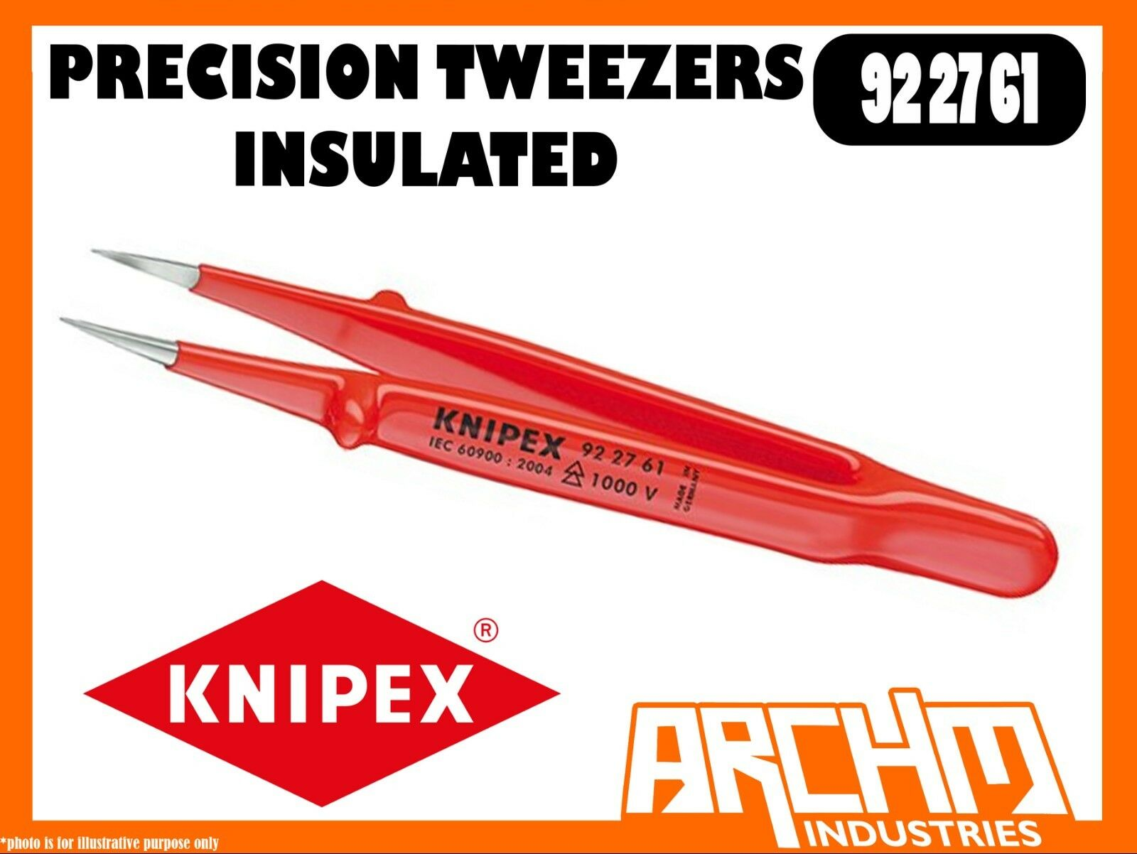 KNIPEX 922761 - PRECISION TWEEZERS - INSULATED - 130MM - 1000V ELECTRONICS