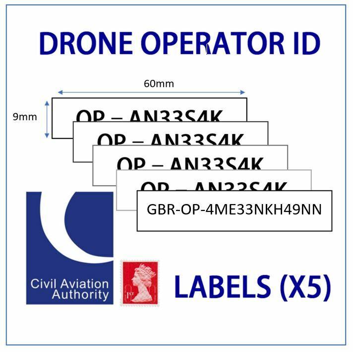 UK Drone Operator ID Labels 9mm CAA Regulatory Identification tags / Stickers