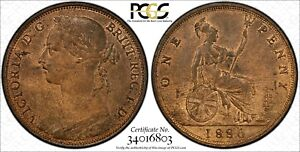 Great-Britain-Victoria-Bronze-1886-1-Penny-PCGS-MS63-RB-Light-Toned-KM-755