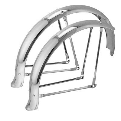 "2-20/"" Front Classic Chrome Bicycle Fenders W//4 Braces /& Nuts//Bolts Trike Bike"