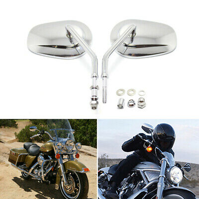 """4 Inch Round Mirrors Pair Harley Big Twin /& Sportsters Chrome Plated 5/"""" Stems"""