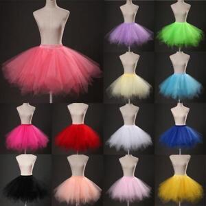 034-LONG-LADIES-GIRLS-NEON-TUTU-SKIRT-ADULT-ALL-SIZES-45cm-Ballet-Pettiskirt