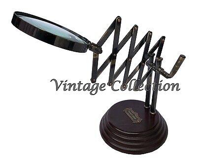 Antike Stil Messing Lupe auf Holzsockel Brass Desktop Chainner Magnifying Glass