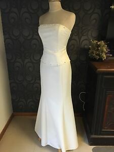 Ivory-Satin-Bridal-Debutante-Formal-Gown-Size-8
