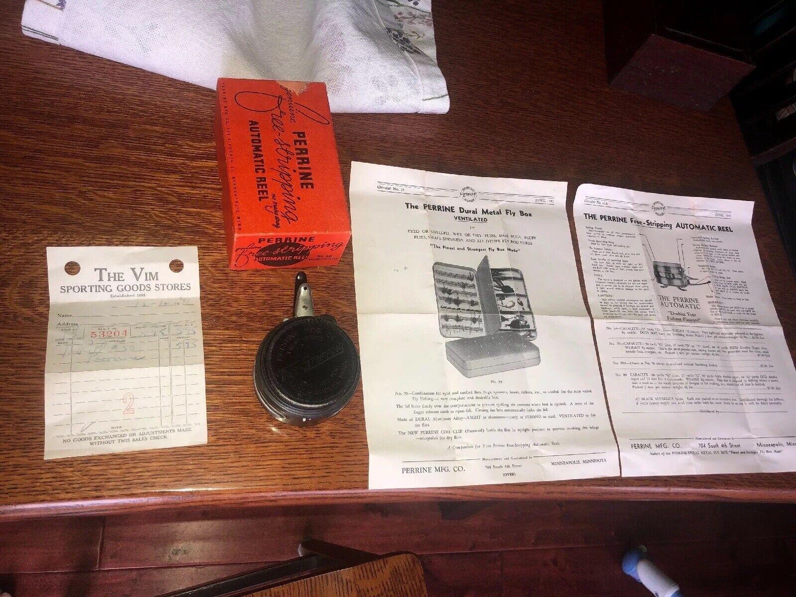 VINTAGE PERRINE FREE-STRIPPING FLY REEL BOX 1941 Original VIM  Sporting Goods  buy best