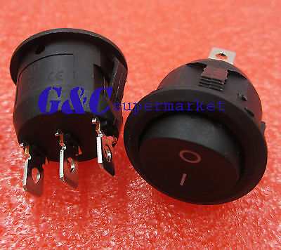 10PCS Mini 3 Pin Round Black SPDT ON-OFF Rocker Switch Snap-in