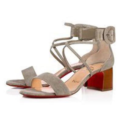 Christian Louboutin CHOCA 55 Suede Block Heel Sandals Shoes Clay Grey $845   eBay