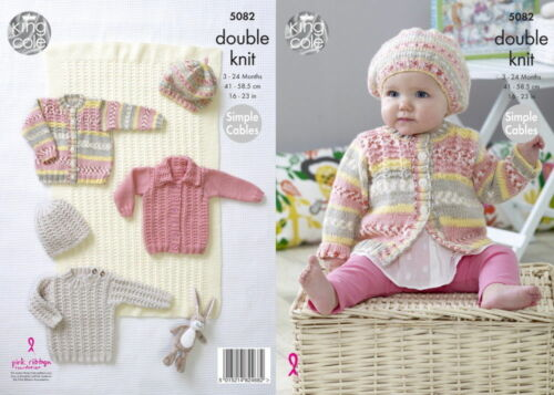 King Cole DK Knitting Pattern 5082:Blanket,Sweater,Cardigans /& Hat